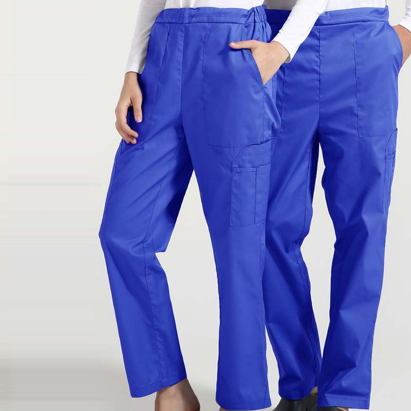 Women Men Scrub Pants Cotton Medical Uniforms Solid Color Trousers With Six Pockets Elastic Waistline And String Straight Pants