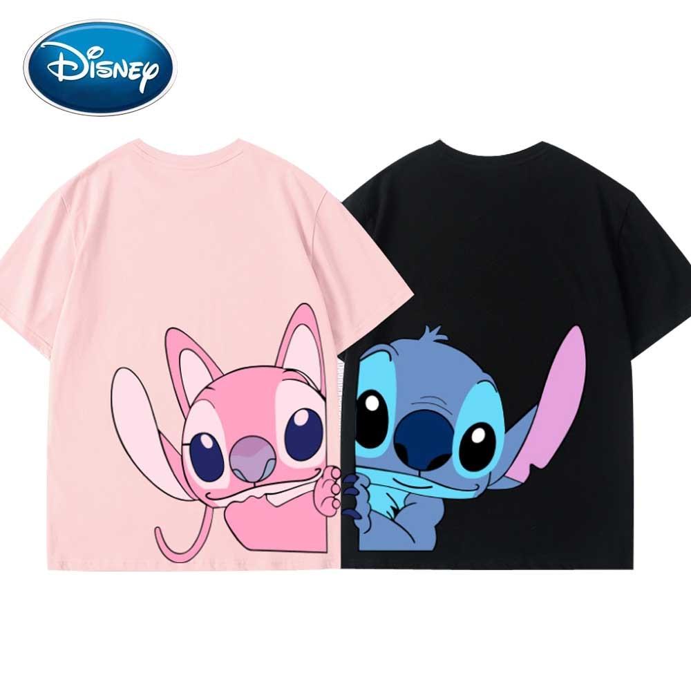 Disney Front Back Stitch Angel Little Monster Cartoon Print Cotton Women T-Shirt O-Neck Pullover Short Sleeve Tee Tops 5 Colors