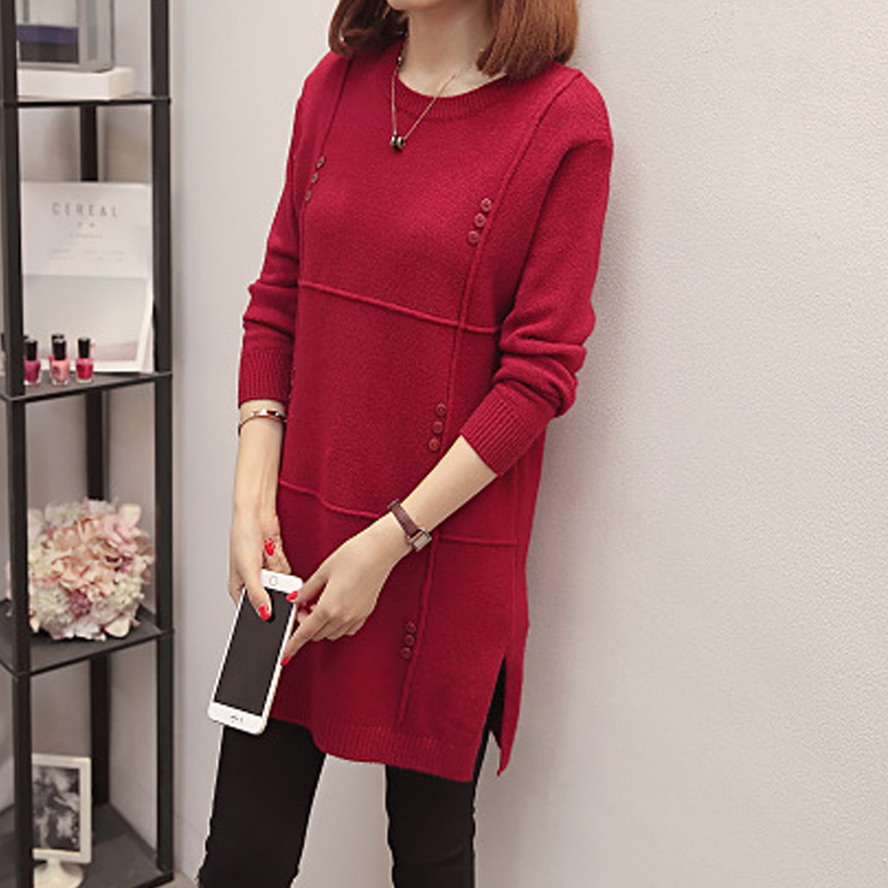 Women Plus Size Casual Pullovers Long Sweater 2020 Winter Autumn Slim Jumpers O-neck Wine Red Thick Pull Femme Maglioni Donna