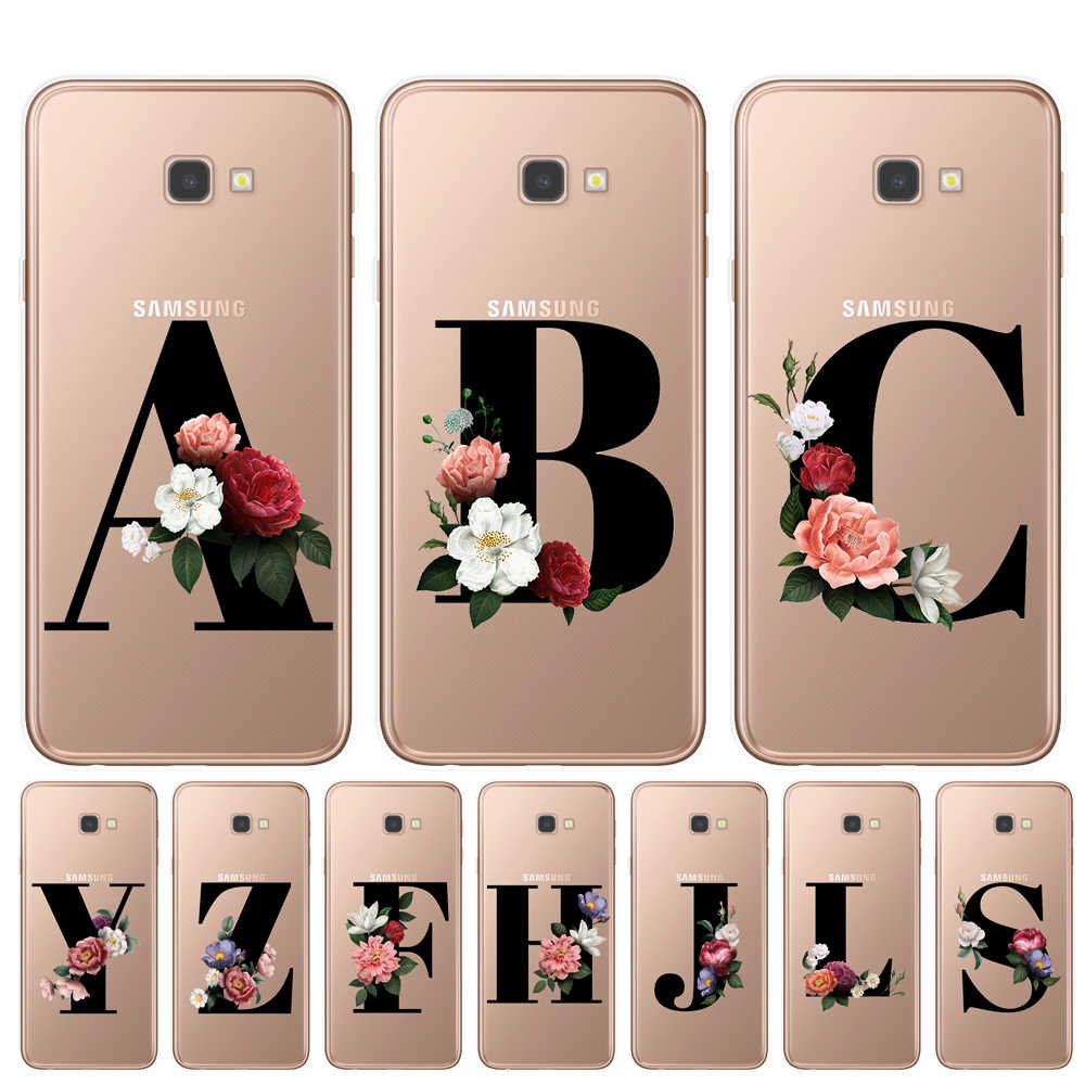 Letter Monogram A B C D Alphabet Flowers Soft TPU Phone Case For Samsung J3 J5 J7 2016 2017 J4 J6 Plus 2018 Floral Back Cover