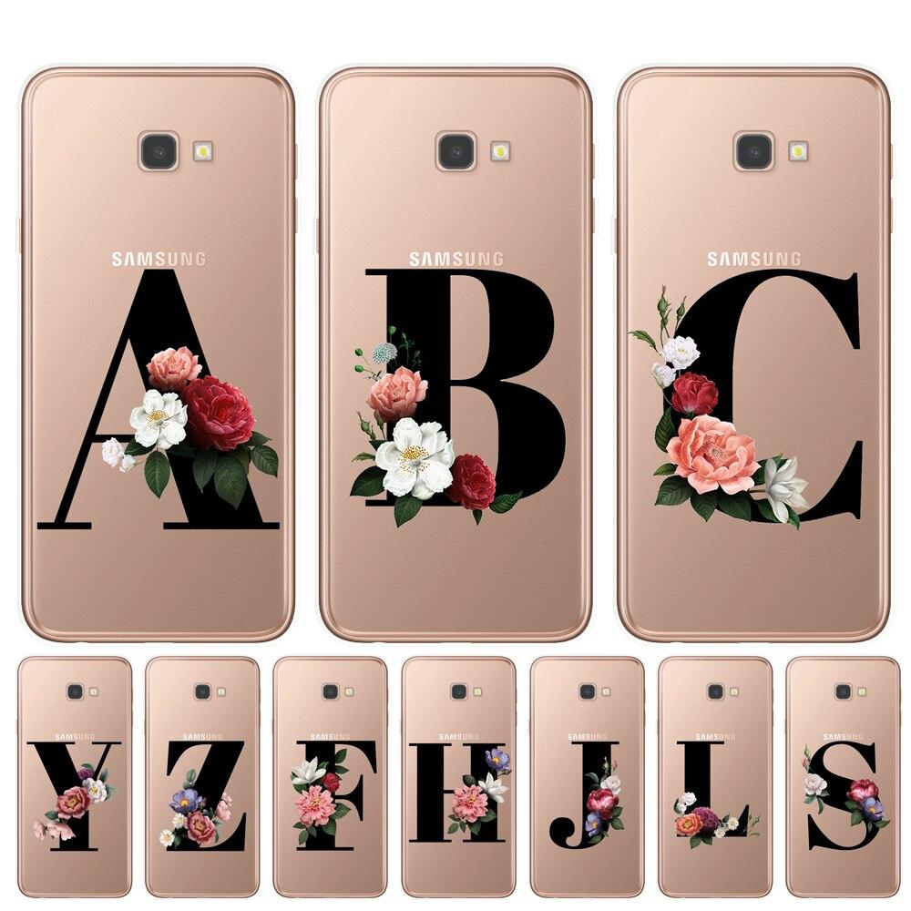 Letter Monogram A B C D Alphabet Flowers Soft TPU Phone Case For Samsung J3 J5 J7 2016 2017 J4 J6 Plus 2018 Floral Back Cover