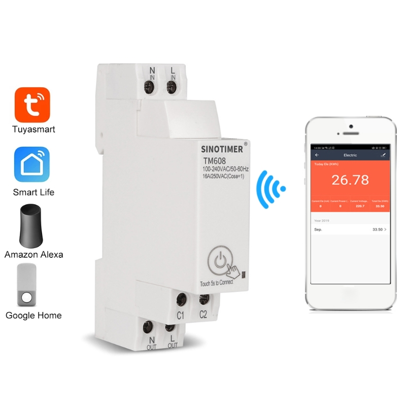 TM608 Single Phase WIFI Home Energy Meter with Timer Switch Remote Control by APP Multi-functional Voltage Current Detection Tim