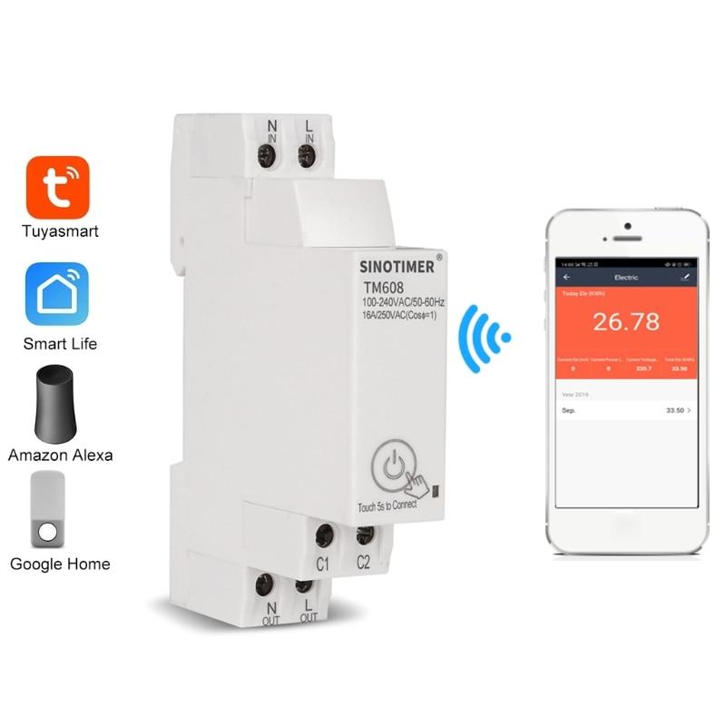 TM608 однофазный домашний счетчик энергии с Wi-Fi и таймером, дистанционное управление с помощью приложения, многофункциональное Обнаружение н...