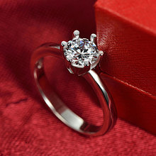 Ataullah Simulated Diamond Ring Sterling Silver 925 Jewelry with Platinum Plated 1carat Rings for Women Gift RW070