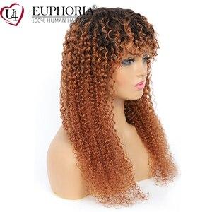 Image 2 - Ombre Brown 30 parrucche ricci crespi parrucche brasiliane per capelli umani Remy parrucche piene con frangia parrucche corte ricci di colore naturale euforia