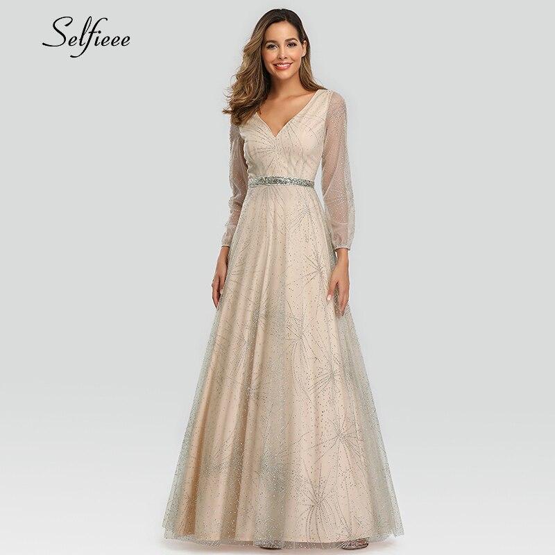 Robe longue élégante à paillettes pour femmes a-ligne col en v en Tulle à manches longues scintillant transparent robe De dames Vestidos De Mujer 2019