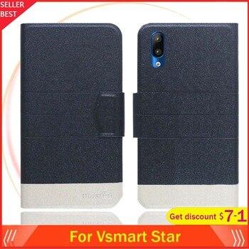 Перейти на Алиэкспресс и купить Чехол Vsmart Star 5,7 дюйма с откидной крышкой, ультратонкий кожаный эксклюзивный чехол для телефона, Модный чехол-книжка с отделениями для карт