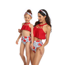 Mom Daughter Swimsuit Family Matching Swimwear Mother Daughter Fashion Bikini Bathing Suit Swimwear Outfits Kids Swimsuit fashion mother daughter matching girl womens sleeveless palm leaves print swimwear children hat swimsuit bikini set