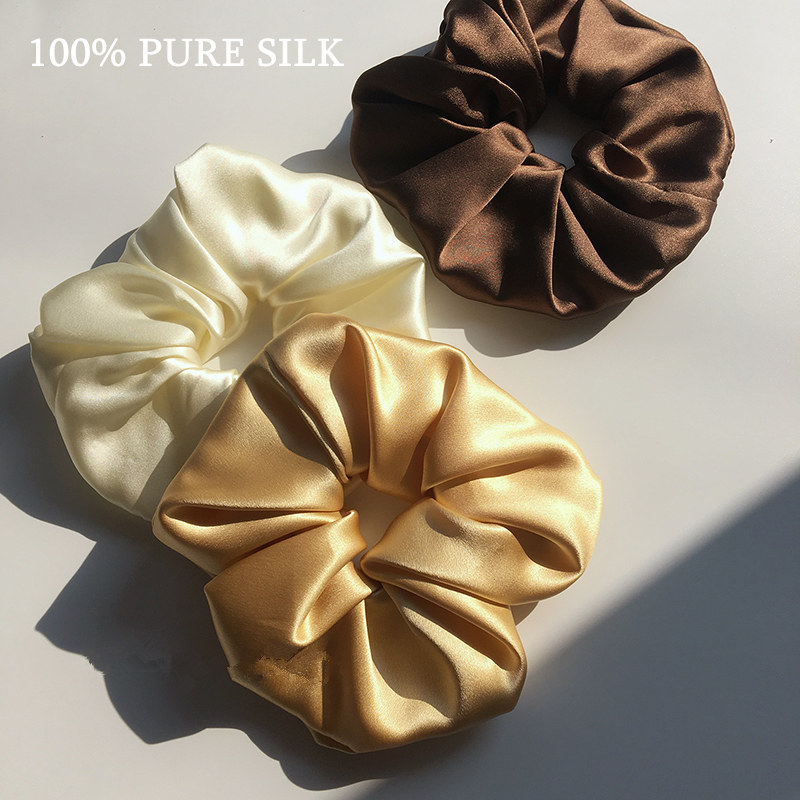 Ponytail-Holder Hair-Scrunchie-Width Sold Girls One-Pack 100%Pure-Silk of by Luxurious-Colors