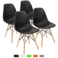 modern dining room chair shell lounge colorful plastic chair for kitchen dining bedroom study living room chairs 4 pcs Modern Minimalist Office Chairs Simple Plastic Chair for Dinning Room Bar Cafe Bedroom Living Room Foyer Study Chairs Set of 4