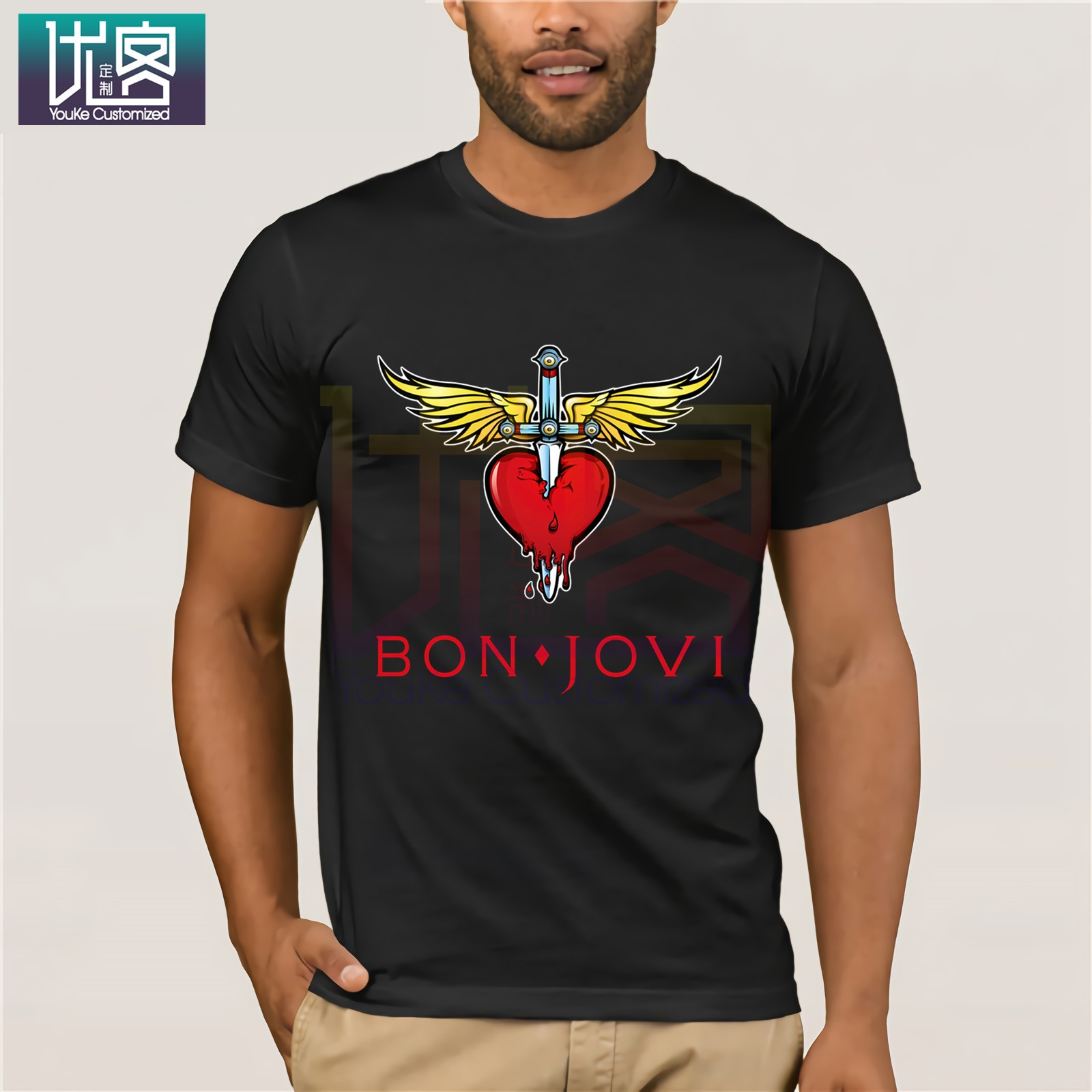 Bon Jovi Resbaladizo Cuando Mojado/' /' Camisa De Béisbol-Nuevo