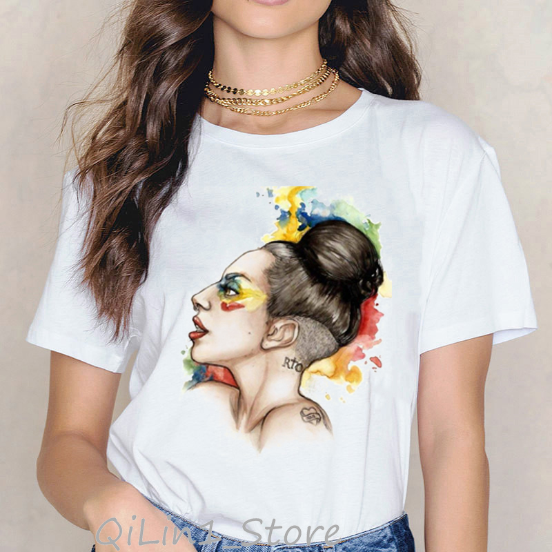 Fashions Womens Lady Gaga Watercolor Printed T Shirt Chemise Femme Casual T-Shirts Hipster Streetwear Summer 2019 Top Tee Shirt