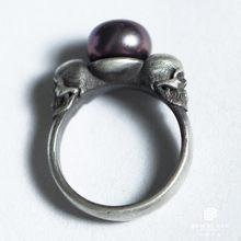 Bem hi ben feminino pérola crânio anel 925 prata esterlina design original feito à mão motociclista punk escuro