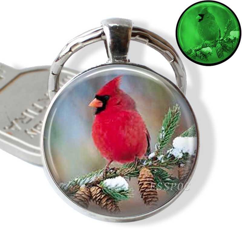توهج في الظلام الكاردينالات مفتاح حلقات سلسلة المفاتيح حامل مضيئة الطيور المفاتيح الرجال المجوهرات هدية
