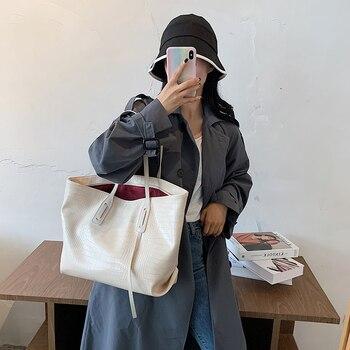 Beige Alligator Women's Handbag Solid Color Large Capacity Shoulder Bag Premium Leather Female Tote Bags Casual Lady Sac A Main