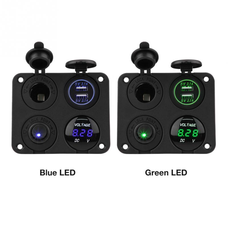 Green LED Switch Panel with LED Voltmeter 12V 3.1A Dual USB Car Boat Charger