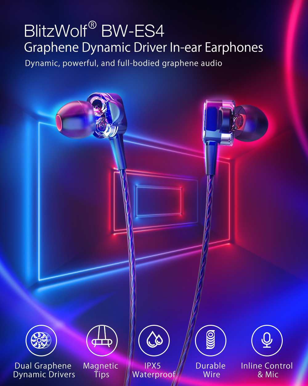 Blitzwolf bw-es4 dual dynamic driver earphones ipx5 in-ear earphones 3.5mm wired control earbuds magnetic headphones with mic (black)