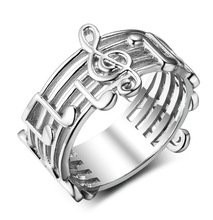 Treble Clef with Musical Notes Titanium Steel Ring Womens Fashion Symbol NO9