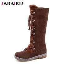 цены SARAIRIS Plus Size 34-46 Women Fur Boots Ladies Winter Warm Fur Shoes Woman Lace-up mid-calf Snow Boots non-slip Low Heel Shoes