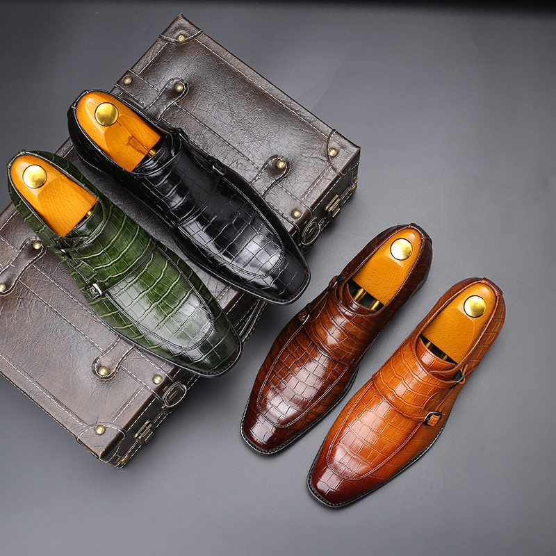 ZSAUAN Snake Skin Pattern British Men Leather Loafers Buckle Strap Office Dress Shoes Party Wedding Gentleman Flats Size 37-48