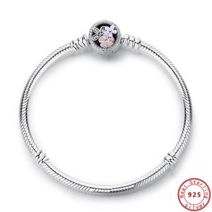 Image 5 - Bracelet à breloques cœur en argent Sterling 100% 925, Original, chaîne de perles, flocon de neige, roses, serpent, bijoux à bricoler soi même