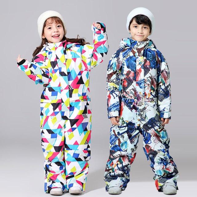 -30 Degree Children Ski Jumpsuit 2020 Winter Snowboard Jacket Boys and Girls Outdoor Snow Suits Warm Waterproof Kids Ski Jacket 4
