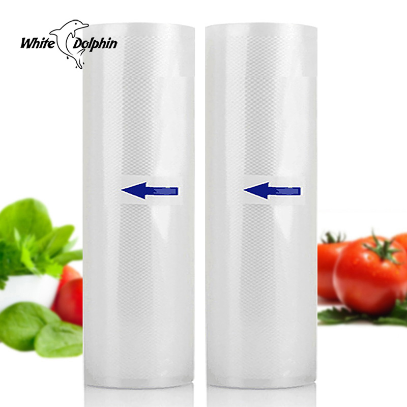 White Dolphin Home Food Vacuum Sealer Rolls Food Saver Bags 2 Rolls 12 15 20 25 X 500cm For Vacuum Sealing Packing Machine