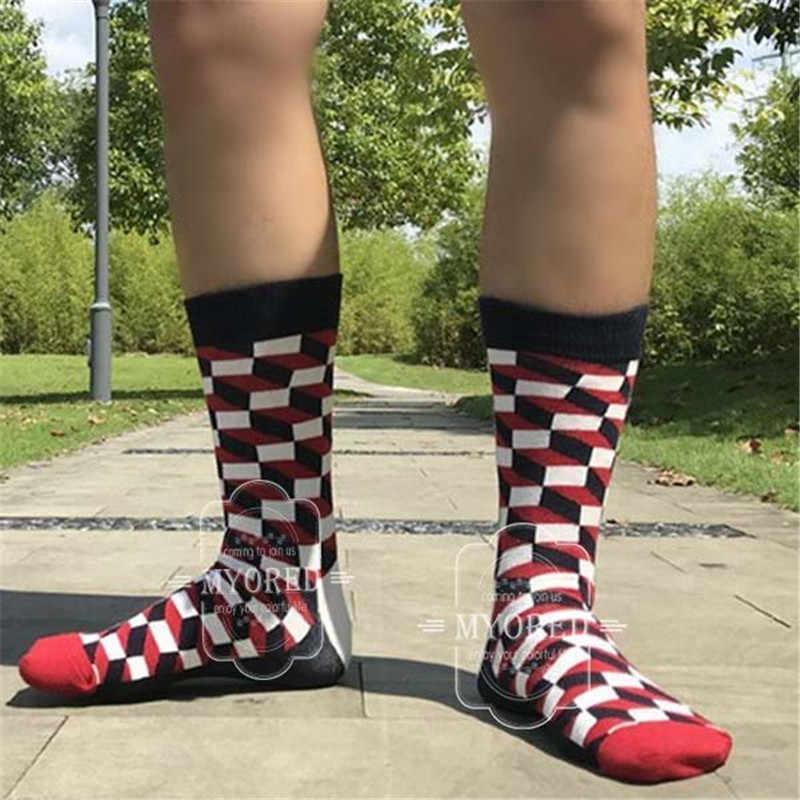 MYORED 5 paar/partij mens sokken katoen kleurrijke grappige crew sokken lange levendige sok voor man zakelijke jurk bruiloft gift sokken GEEN DOOS