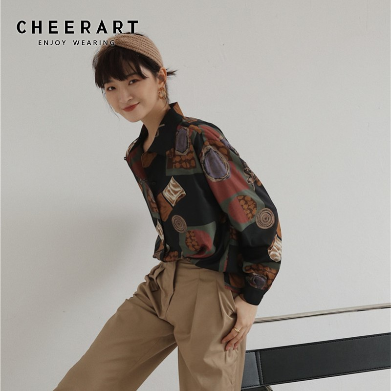 Cheerart Baroque Vintage Blouse Long Sleeve Loose Shirt  Print Vintage Top Button Up Shirt Fall 2019 Blouse Femme Clothes