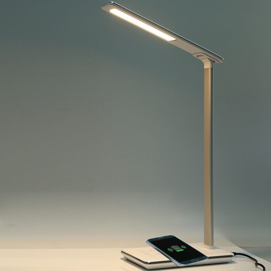 LED Desk Lamp Table Lamp Folding 4 Light Color Temperature Office Light Wireless Desktop Charger USB Output Bottom Foam