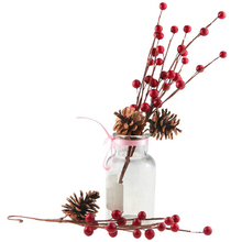 10pcs Simulation Berry Branch Red Foam and Pine Cone Set Christmas Decoration Flower Artificial