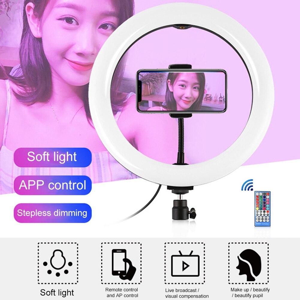 cheapest 3Modes Mini LED Desktop Video Ring phone Light Selfie Lamp With Tripod Stand For YouTube Tik Tok Live Photo Photography Studi