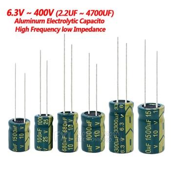 10V 16V 25V 35V 50V 400V High Frequency Low ESR Aluminum Capacitor 100UF 220UF 330UF 470UF 680UF 1000UF 1500UF 2200UF 3300UF 1