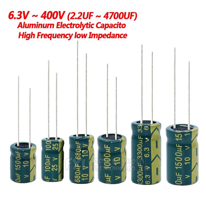 Condensador de aluminio de baja frecuencia, 10V, 16V, 25V, 35V, 50V, 400V, 100UF, 220UF, 330UF, 470UF, 680UF, 1000UF, 1500UF, 2200UF