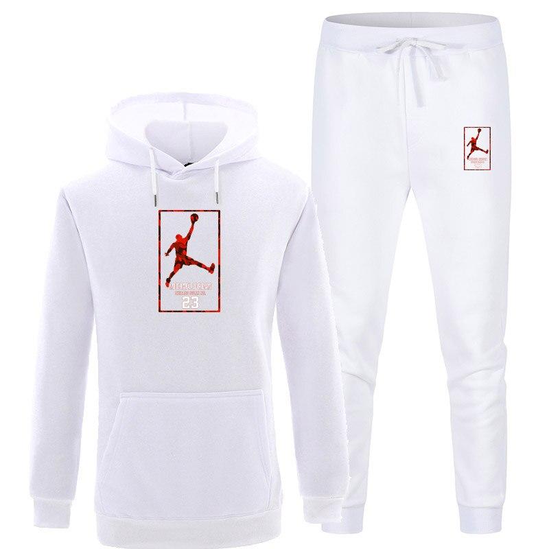 New Tracksuit Men Sportswear Set Fleece Hoodie Suit Jordan Letter Print Malechandal Hombre Spring Autumn Winter Hoodie+Pants Set