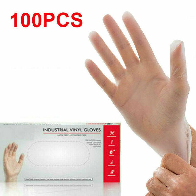 100PCS Multi Use Bastion Vinyl Gloves Disposable Powder Free Powdered Examination Clear Premium Quality Vinyl Golves Anti Virus