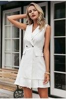 White blazer work dress women V neck ruffle A line slim sleeveless party dress Office ladies short white dress vestidos