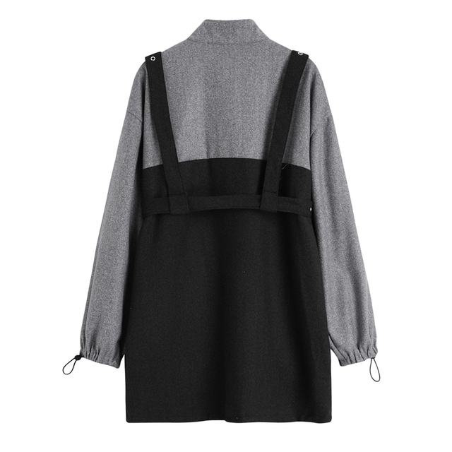 2020 Autumn Harajuku Women Punk Style Suspenders Bandage Dress Vintage Long Sleeve Streetwear Gothic Female Dresses Two Piece 2