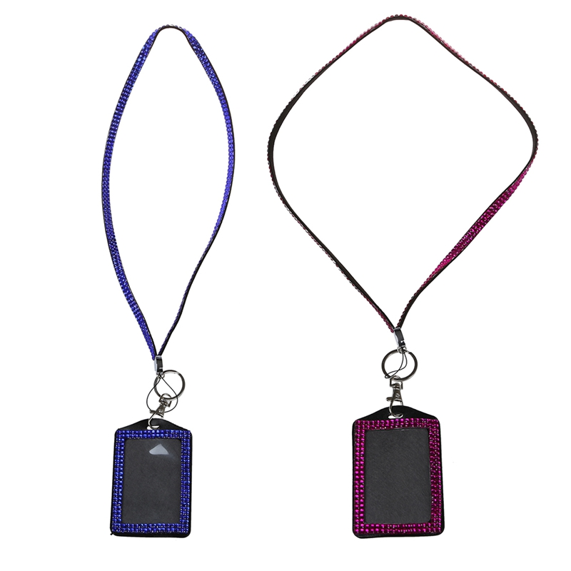 2 Pcs Rhinestone Bling Crystal Custom Lanyard Vertical ID Badge Holder, Rose Purple & Dark Blue