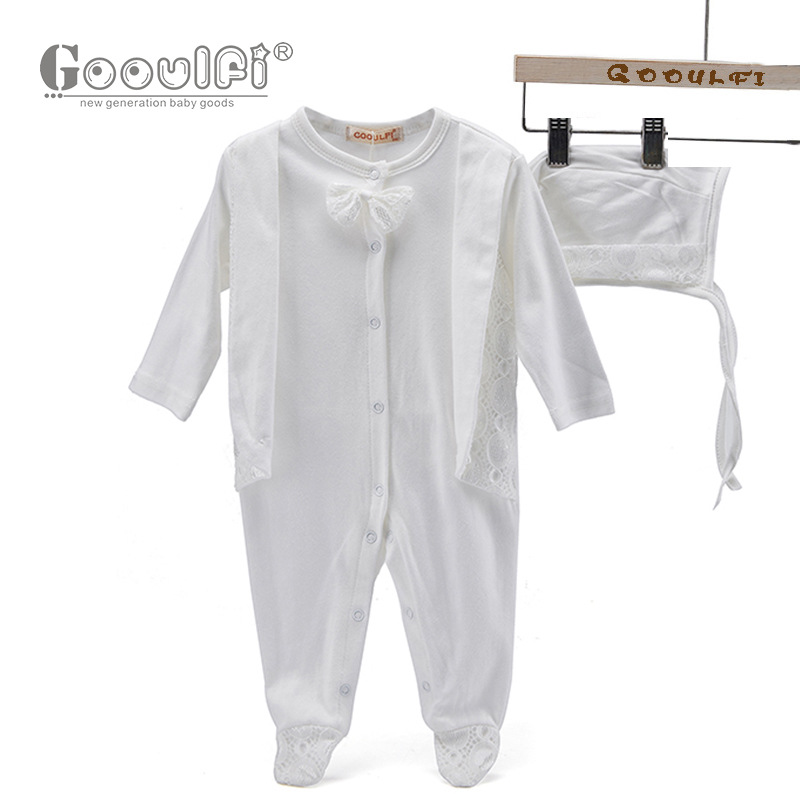Gooulfi Baby Boy Newborn Romper Long Sleeve Baby Rompers Spring Bowtie Lace Cotton Christening Baby Clothes Boy Outfit