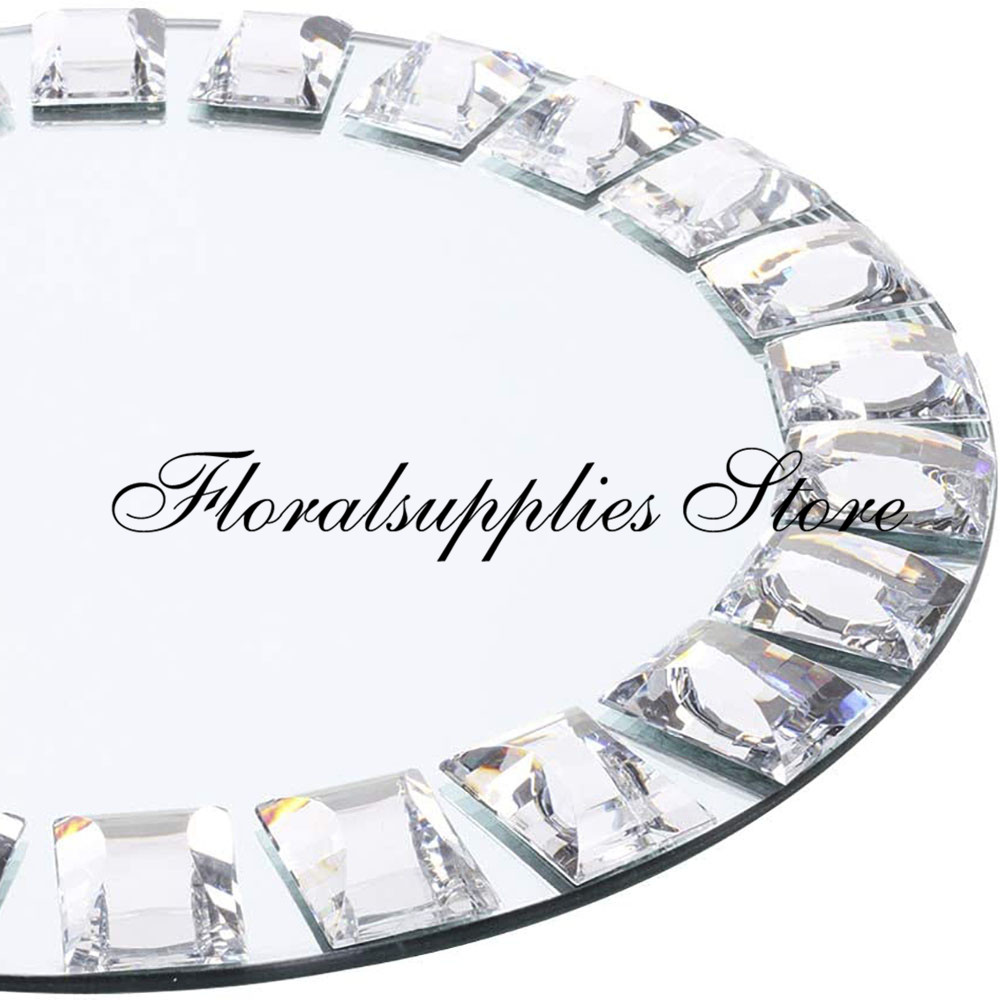 wedding : 10PCS Wholesale Mirror Charger Plates Round Mirrored Tray Charger Place Settings for Christmas Dinnerware Holiday Event Wedding