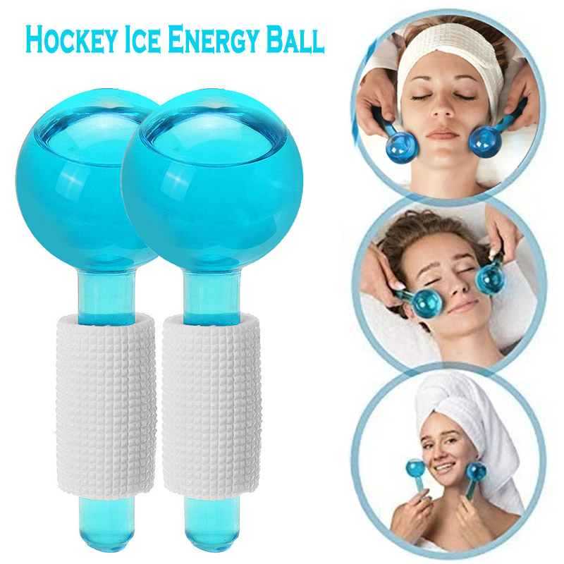 2pcs/Lot Large Beauty Ice Hockey Energy Beauty Crystal Ball Facial Cooling Ice Globes Water Wave For Face And Eye Massage