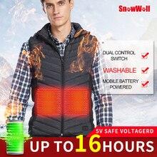 Snowwolf Men Winter Outdoor Heated Hooded Hiking Vest Battery Heating Waistcoat Coat USB infraded electric coat