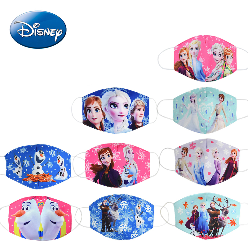 Disney Frozen Cartoon Anti-haze Mouth Face Mask Children Reusable  Washable Dust-proof Protection Kids Cosplay Masks Girls Gifts