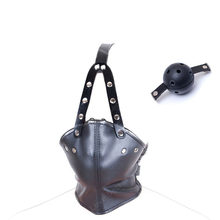 PU Leather Head Harness Mask Mouth Gag Strapon Fetish BDSM Bondage Hood With Silicone Gag Slave Games Muzzle Ball Adult Toys(China)