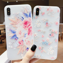 Floral Phone Case For iPhone X XR XS Max Flower TPU Cases For iPhone 6 6s 7 8 Plus Rose Pattern Silicon Soft Cover цена и фото