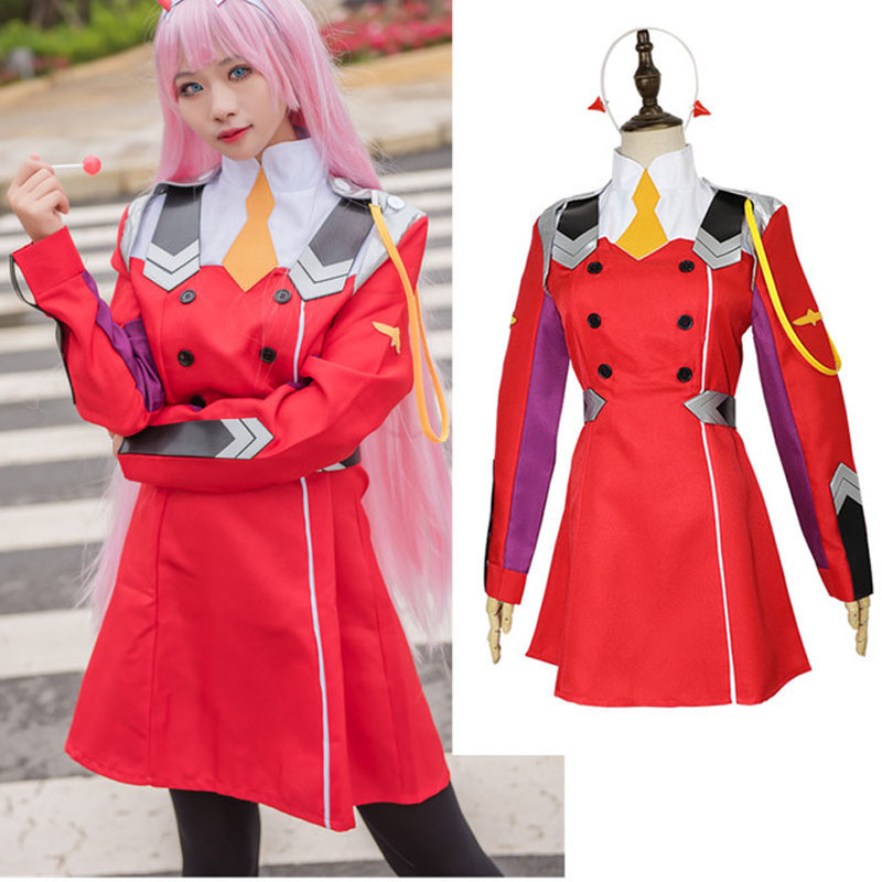DARLING in the FRANXX 02 ZERO TWO Cosplay Costume Headwear Wig Uniform Red Dress