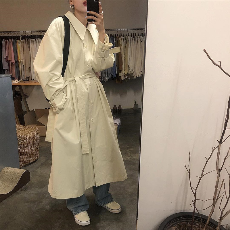 Korean Belt Long Trench Loose Oversize Women 2019 Autumn Casual Lapel Female Coat Solid Turn-down Collar Ladies Coats
