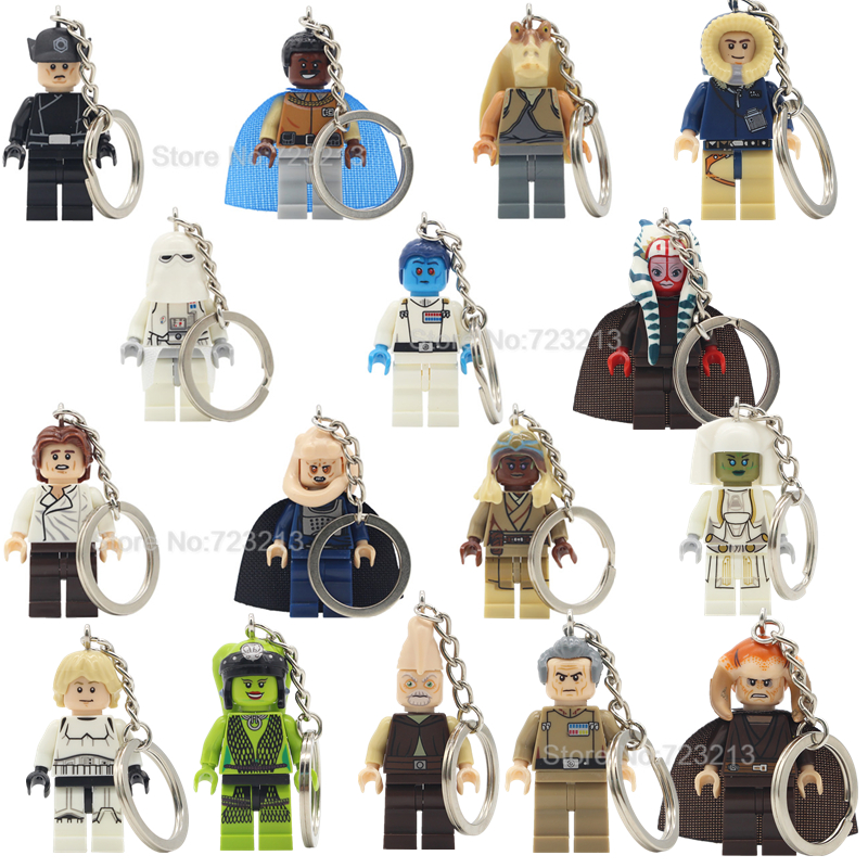 Jar Jar Binks Luke Oola Saesee Tiin Figure Keychain Bib Fortuna Thrawn Lando Tarkin Ki Adi Building Blocks Model Toys Legoing