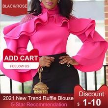 African Ruffle Sleeve Women Blouse Tops Party Club Office Lady Fashion Falbala Pullover Slim Autumn Street Beat Shirts Blousa